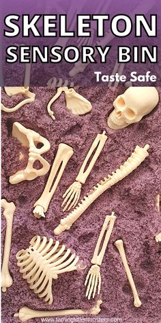 Skeleton sensory bin for Halloween. Toddlers and preschoolers will love learning about the human body with this taste safe sensory activity for Halloween. #halloween #sensory #toddlers #preschoolers #kindergarten Sensory Play Recipes, Infant Sensory Activities, Baby Sensory, Kids Learning Activities, Sensory Bins, Cool Science Experiments, Science For Kids, Halloween Activities For Kids, Halloween Halloween