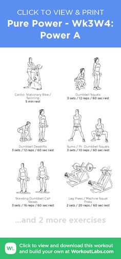 Pure Power - Wk3W4: Power A – click to view and print this illustrated exercise plan created with #WorkoutLabsFit