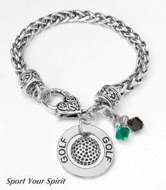Personalized Golf Charm Bracelet, Team Color Swarovski Bracelet, Golf Mom Jewelry, Golf Coach Bracelet, Golf Girl Bracelet, (Made to Order) on Etsy, $22.00