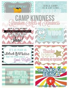 These Girls camp free printables are a sure way to put a smile on someone's face as they are at camp. Poprocks, bubbles, oreos, starburst candy ideas + more
