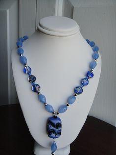 Handmade Blue Millefiori flat beads ,oval shaped glass beads necklace