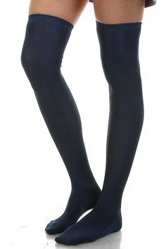 Ribbed Thigh High Charcoal Knit Socks