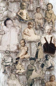 Maternal Instinct (sewn found photos, cotton batting, paper, thread 58 x 13 inches) 2001 . Lisa Kokin in 2019 Textile Fiber Art, Textile Artists, Collages, Collage Art, Art Alevel, A Level Art, Gcse Art, Embroidery Art, Art Sketchbook