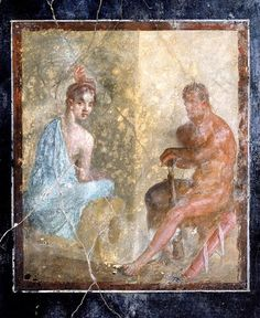 Maison de Marcus Fabius Rufus : salle des fresques à fond noir: Hercule assis et jeune fille. 1er siècle av. J.-C.-1er siècle ap. J.-C. Italie, Florence, Fratelli Alinari