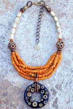 Designer Multi-Strand Orange Glass and Bamboo Resin Pendant Necklace