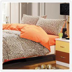 100% cotton leopard twill bedding set - orange