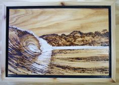 """An original wood burn (pyrography) with white oil paint highlights on oak. Inspired by a wave called Apocalypse in Indonesia.  It is framed with cedar wood and polished with tung oil.   12"""" x 17"""" x 1.75"""""""