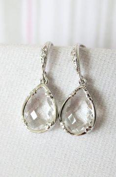 Suzette Clear Glass Teardrop Earrings Cubic