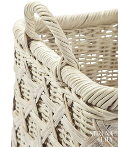 Two sizes, two shapes. Bamboo caning and a whitewashed finish prove that even conquering clutter can be done with plenty of style. Bamboo Canes, Sag Harbor, Summer Feeling, Storage Baskets, Clutter, Coast, It Is Finished, Shapes, Style
