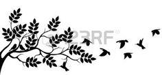 silueta flor: Silueta del árbol con el pájaro de vuelo                                                                                                                                                      Más
