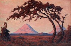 Jacob Hendrik Pierneef Silent Sentinels, Omatakos SWA signed and dated oil on board by South Africa Art, Fine Art Auctions, Tree Art, African Art, Art School, Painting Inspiration, Art Forms, Landscape Paintings, Painters