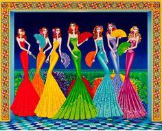 Imágenes Arte Temático : Los Mejores Cuadros Modernos y Coloridos de Mujeres, Carlos Andino, Honduras