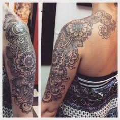 Paisley half sleeve, bohemian tattoo, girls with tattoos, real henna, mandala, hippie chic, gypsy, moms with tattoos, boho, shoulder, half sleeve, detailed