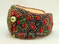 DEEP FOREST Bead Embroidery Cuff Bracelet.Cindy Caraway