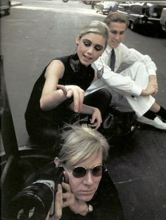 fuckyeahwarholfactory:  theswingingsixties:  Andy Warhol and Edie Sedgwick on the street.  With Chuck Wein.