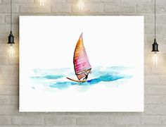 Surf art windsurf watercolor painting - Giclee print surfboard painting Aqua Blue surfboard drawing by Michelle Dujardin Surf  Aquarelle