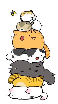 kawaii cat illustration, the calico on top :) Chat Kawaii, Kawaii Cat, Kawaii Anime, Squishy Kawaii, Kawaii Stuff, Anime Neko, Anime Art, I Love Cats, Crazy Cats