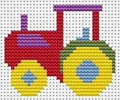 Sew Simple Tractor cross stitch kit from Fat Cat Cross Stitch at Busy Lizzie Crafts Cross Stitch For Kids, Cross Stitch Cards, Simple Cross Stitch, Cross Stitch Baby, Counted Cross Stitch Kits, Cat Cross Stitches, Cross Stitch Embroidery, Simple Embroidery, Cross Stitching