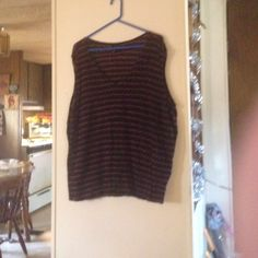 Lane Bryant sleeveless top. Black with two contrasting purple stripes. In good used condition. Lane Bryant Tops Tank Tops