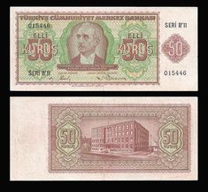 2.Emisyon50 Kuruş Republic Of Turkey, Galaxy Wallpaper, Diy And Crafts, Vintage World Maps, Nostalgia, Coins, Cartoon, History, Banknote