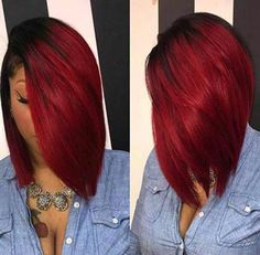 When it comes to bob hairstyles for black women, there is no limit to cuts and colors! Many of them work on all hair types & faces, so don't avoid a bob cut this season. Black Women Hairstyles, Girl Hairstyles, Red Weave Hairstyles, Inverted Bob Hairstyles, Bridesmaid Hairstyles, Hairstyles Pictures, Hairstyles 2018, Natural Hair Styles, Short Hair Styles