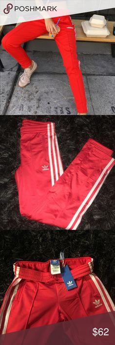 "Adidas Red Track Pants Adidas Vivid Red pants. 13"" flat waist band. Fleece inner warm. Firm price adidas Pants Track Pants & Joggers"