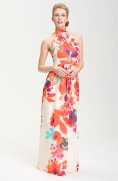 Eliza J Sleeveless Halter Maxi Dress. Love the neckline and the color!
