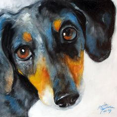 """DOXIE DAPPLED"" by Marcia Baldwin: This is from an oil painting of a sweet pet named Oscar, a dappled dachshund and a beloved friend to a sweet family. His sweet eyes will capture your heart."