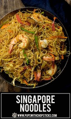 An easy to make dry curry noodle dish (Singapore Noodle) made with stir-fried vermicelli noodles, curry powder, shrimp, strips of eggs, meat and vegetables - just like the restaurants but made in the comfort of your home! Lunch Recipes, Seafood Recipes, Chicken Recipes, Cooking Recipes, Cabbage Recipes, Spinach Recipes, Turkey Recipes, Recipes Dinner, Baked Chicken