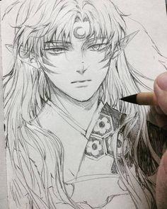 Anime Boy Sketch, Anime Drawings Sketches, Manga Drawing, Manga Art, Manga Anime, Anime Art, Inuyasha Fan Art, Inuyasha And Sesshomaru, Seshomaru Y Rin