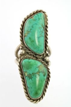 Vintage Navajo Style Sterling Silver Double Turquoise Ring Size 7