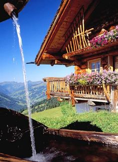 Almhütte in Saalbach-Hinterglemm, Salzburg province, Austria with interesting railing to the roof on the upper deck Visit Austria, Austria Travel, Wonderful Places, Beautiful Places, Alpine Style, Carinthia, Heart Of Europe, Beautiful World, Wonders Of The World