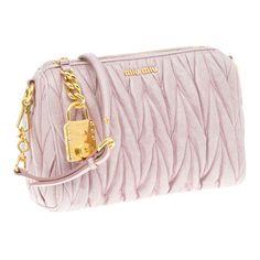 54692bd53e Miu Miu Matelassé shiny calf leather cosmetic pouch with shoulder strap