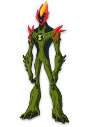 SWAMPFIRE  Swampfire might look like a walking compost heap, but he's one of Ben's strongest aliens, with the power to shoot fireballs, regenerate damage and control other plant life in the area.