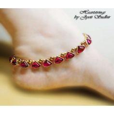Magenta kundan anklet @ Minha cor de pedra favorita.