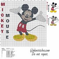 Disney Mickey Mouse character with text name big size cross stitch pattern