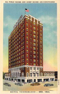 Hotel Youngblood Mint Curteich Linen 1937 Enid Ok Postcards 2 5 Ebay