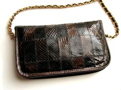 Vintage from the Eighties  Genuine leather crossover purse by egle