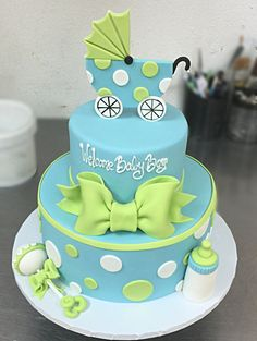 Green & Blue Baby Carriage Cake