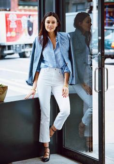 Le Fashion Blog Grey Blazer Blue Striped Button Down Shirt Gold Cuff Bracelets White Flared Jeans Black Lace Up Flats Via Hello/J.crew