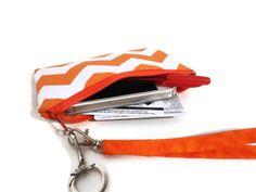 cell phone case purse, wristlet, iphone coin purse, Orange Chevron wallet. $15.00, via Etsy.