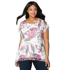 653c83dfa6b Avenue Women s Floral Lace Flutter Sleeve Top