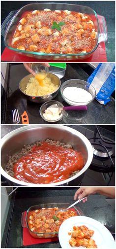 Receita de Nhoque de Batata delicioso, em pouco tempo essa receita fica pronta, é maravilhosa. #receita #gastronomia #culinaria #comida #delicia #receitafacil #cozinha #massa #nhoque #nhoquedebatata #nhoquecomcarne