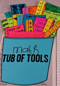 Math Tools for Reference Use these reference math tub of tools to help students be successful with math concepts. Create a reference area in student math journals, math notebooks, or student workbooks with these helpful math reference tools. Math tools i Math Strategies, Math Resources, Math Workbook, Math Tools, 2 Kind, Second Grade Math, Math Notebooks, Interactive Notebooks, Interactive Bulletin Boards