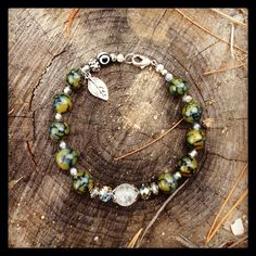 Green Glass Marble Beaded Bracelet with Leaf Charm on Etsy, $17.99