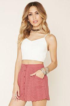 FOREVER21 Women's  Rose Embroidered Mini Skirt | FOREVER 21 saved by #ShoppingIS