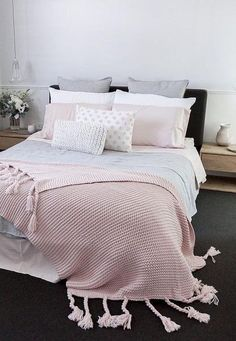 Cute And Girly Pink Bedroom Design For Your Home - ideahomy Bedroom Decor Inspiration, Pastel Interior Design, Bedroom Interior, Bedroom Makeover, Bedroom Design, Bedroom Styles, Bed, Pastel Bedroom, Bedroom Decor