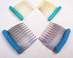 Vintage hair combs 3 mid century blue theme celluloid hair accessories decorative combs hair jewelry hair ornament