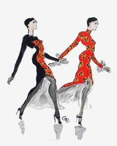 Geoffrey Beene has Attitude // Gladys Perint Palmer - Tiger Flower Studio Fashion Art, Vintage Fashion, Fashion Design, Fashion Clothes, Fashion Sketches, Fashion Illustrations, Fashion Drawings, Sunday In New York, Banner Drawing
