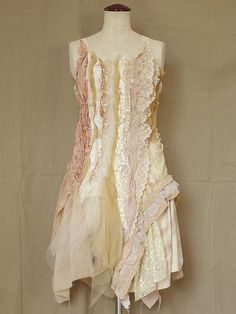 Boho Hippie Bohemian Shabby Chic Coral Beige Cream Stretchy Tank Top Lace Chiffon Tulle Cotton Satin Tattered Strips (L-XL / Custom Order) by Zollection on Etsy https://www.etsy.com/listing/182593106/boho-hippie-bohemian-shabby-chic-coral